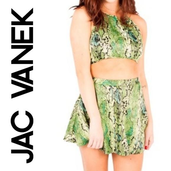 d5ccb1b93b8ac Jac Vanek Snakeskin Green Halter Crop Top